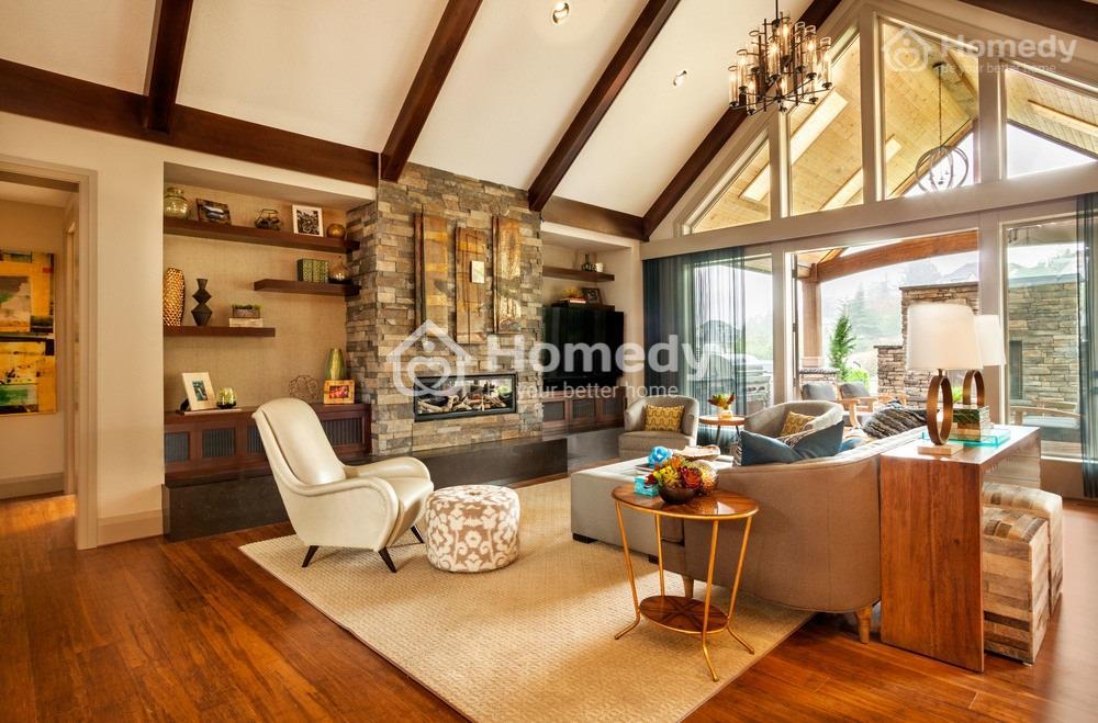 Phòng khách với kệ đẹp
