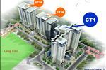 Phối cảnh tòa CT2 gồm 2 tòa nguyên đơn CT2A và CT2B thuộc quy hoạch của khu đô thị Trung Văn