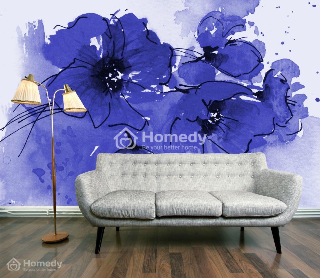 tường hoa màu tím