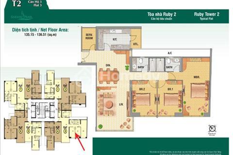 Bán căn hộ Saigon Pearl, tháp Ruby 2, DT 137m2, 3 phòng ngủ tiện nghi cao cấp
