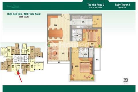 Bán căn hộ Quận Bình Thạnh, Saigon Pearl tòa Ruby 2, DT 85 m2, 2 phòng ngủ