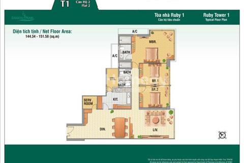Bán căn hộ Saigon Pearl, DT 150 m2, 3 phòng ngủ view sông tuyệt đẹp