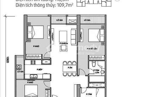 Bán căn 3 phòng ngủ diện tích 118,5 m2 tòa Park 11 Times City, giá 3,4 tỷ