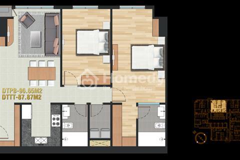 Bán căn hộ cao cấp 96m2 2 phòng ngủ quận Bình Thạnh Pearl Plaza .