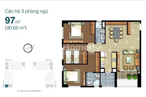 Bán căn hộ quận 2 Lexington Residence, diện tích: 97m2, 3 phòng ngủ nội thất cơ bản
