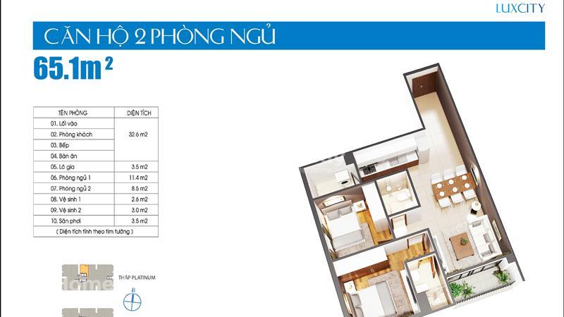 Cần bán gấp căn hộ Luxcity giá thấp hơn chủ đầu tư, 2 phòng ngủ 71 m2 chỉ 1,9 tỷ tặng gói nội thất - 5