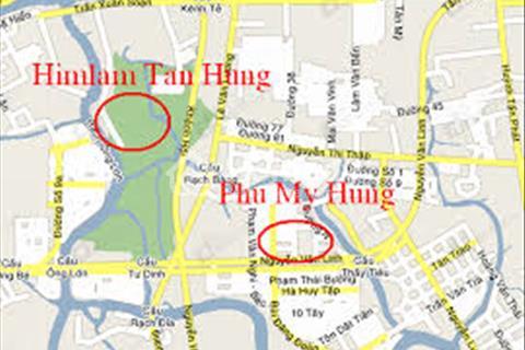 Bán nhà phố Him Lam Kênh Tẻ. 5x20 m2, hầm trệt, 2,5 lầu, đường nội bộ, hướng nam, gần hồ sinh thái
