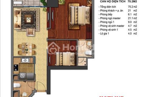Times City bán căn hộ 2 phòng ngủ 75 m2, sổ đỏ chính chủ, giá 2,650 tỷ bao phí