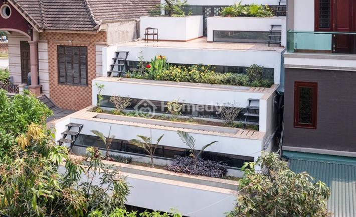 Choáng ngợp ngôi nhà ống thiết kế hình ruộng bậc thang xanh mát lạ mắt ở Hà Tĩnh