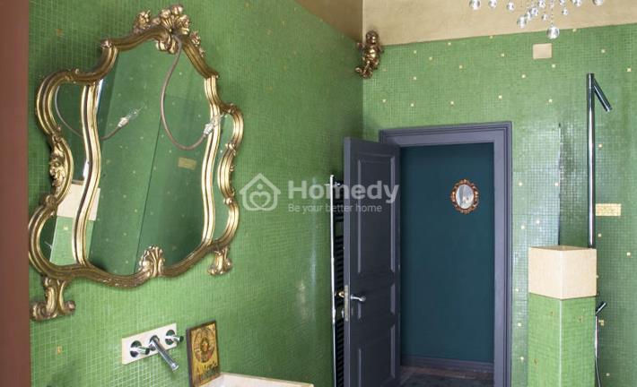 Ý tưởng phòng tắm dành cho gia chủ yêu thích màu xanh