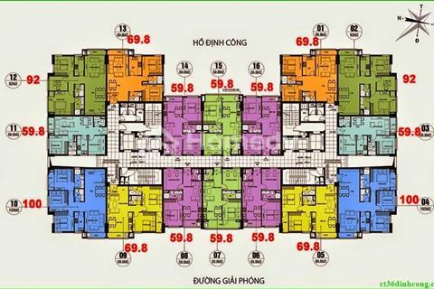 Chính chủ cần bán gấp chung cư CT36 Định Công - Dream Home, tầng 1608, 59,8 m2, giá 21 triệu/ m2