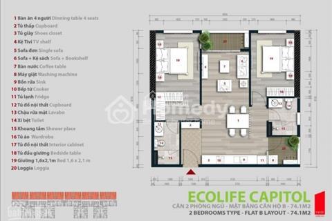Cần bán Ecolife Capitol tòa A2 căn 1109 diện tích 75,9 m2, 2 phòng ngủ sắp bàn giao