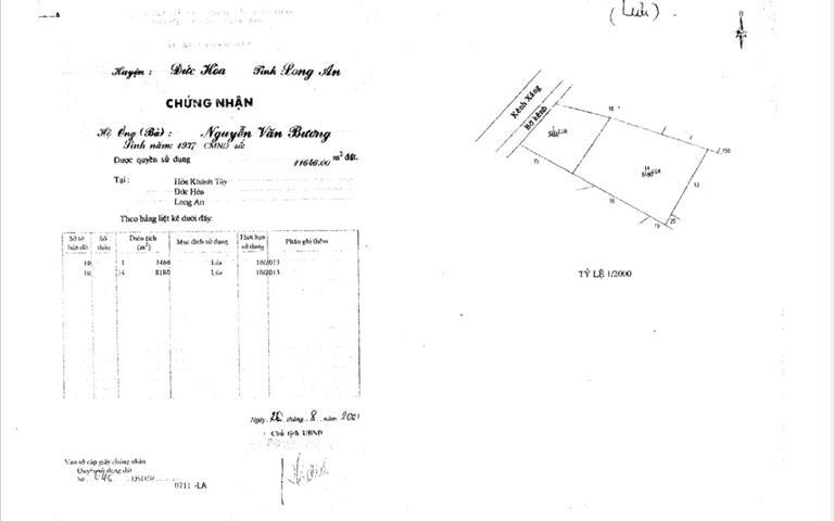 Bán đất làm xưởng ở Hòa Khánh Tây, Đức Hòa, Long An