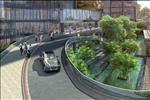 Bên cạnh đó với thiết kế đa tầng cũng tạo một cảnh quan vô cùng đặc biệt khi cây xanh, đài phun nước thấp hơn so với mặt đường.