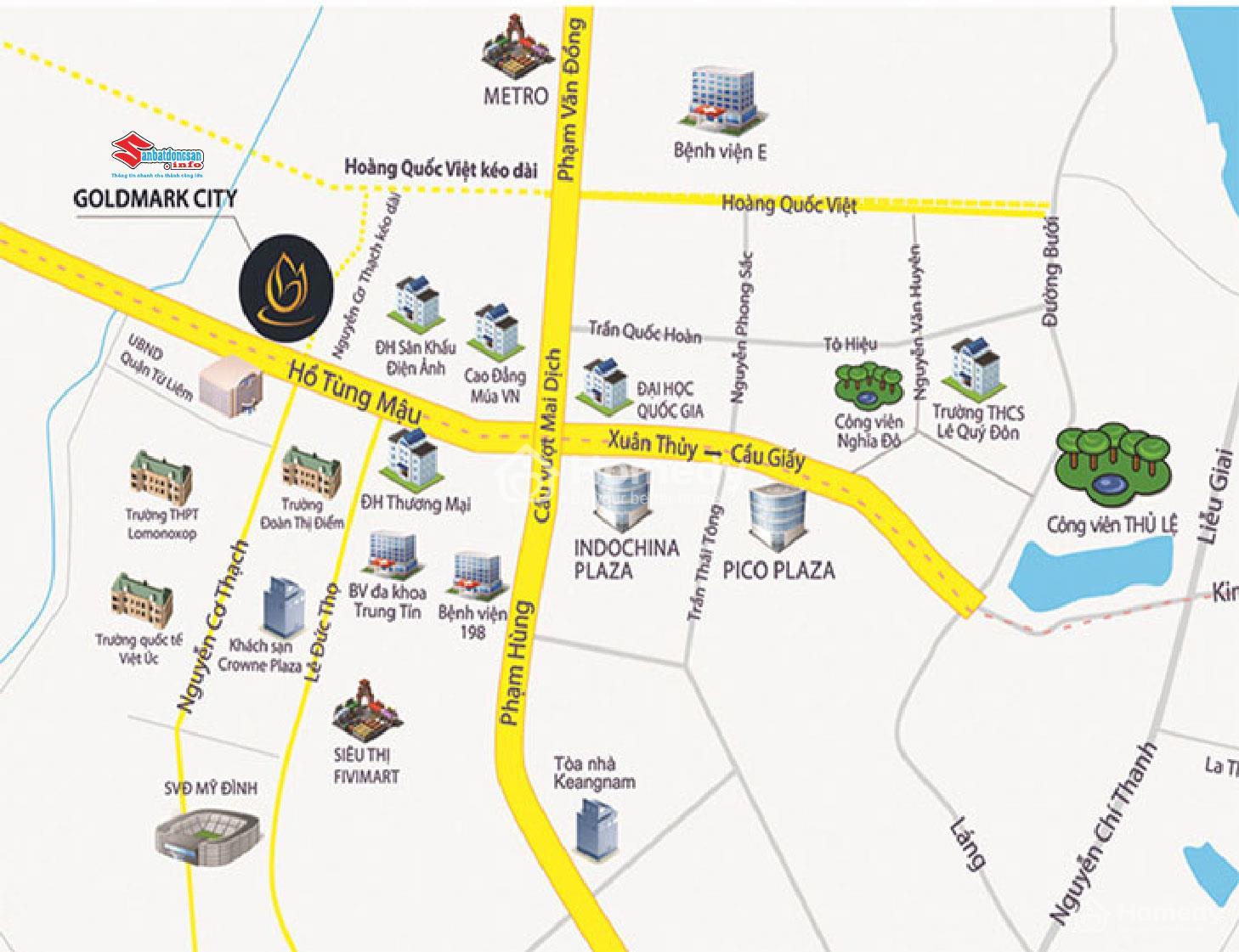 Vị trí đắc địa của dự án Goldmark City