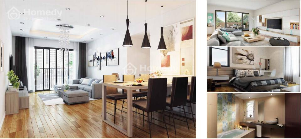 Phối cảnh nhà mẫu căn hộ hiện đại trong dự án Chung cưFive Star Garden