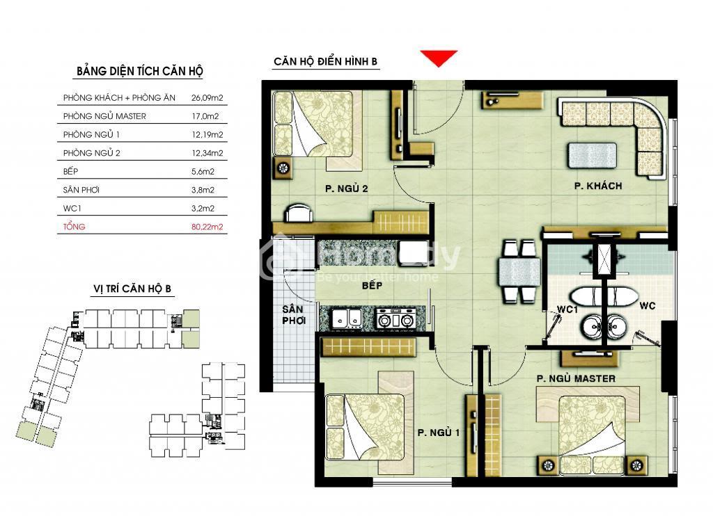 Mặt bằng chi tiết căn hộ điển hình tại The CBD Premium Home.