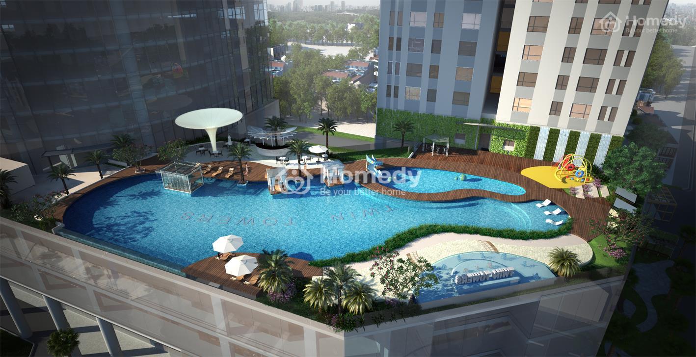 Bể bơi và cây xanh hiện đại ngay trên nóc tòa nhà