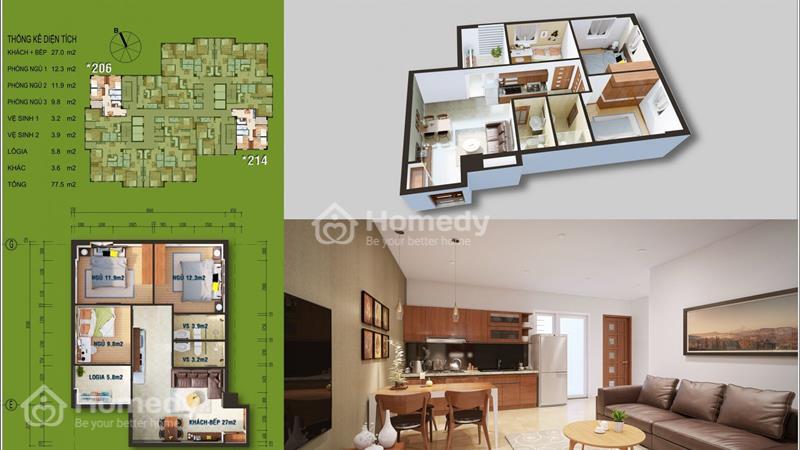 Cần bán gấp căn hộ 3206 - tầng 3, mã căn 6 chung cư Ruby City Lon Biên với giá bán 1,581 tỷ - 1