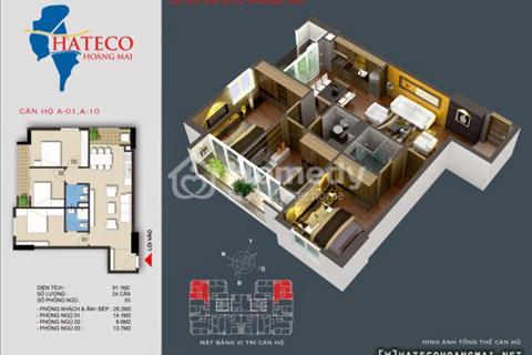 Căn hộ góc giá 1,8 tỷ vào ở ngay diện tích 95 m2 dự án Hateco Hoàng Mai