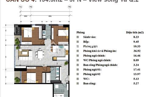 Thảo Điền Pearl - DT 134m2 - Full nội thất cao cấp - View Tây Nam quận 1- Tầng cao