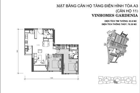 Chỉ 2,3 tỷ sở hữu ngay căn 2 phòng ngủ diện tích 84 m2- giá rẻ nhất dự án Vinhomes Gardenia Mỹ Đình