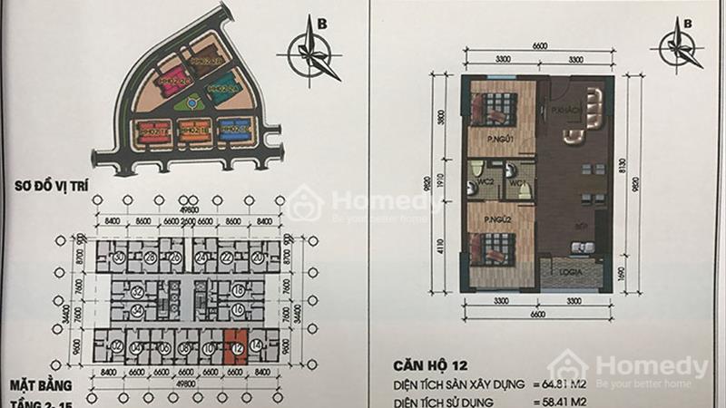 Tôi đang bán căn hộ số 12 tầng 12 Tòa Nhà HH02-1A tại Chung cư Thanh Hà - 1