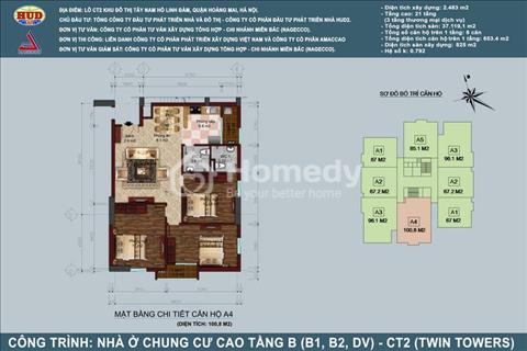Bán căn hộ 3 phòng ngủ chung cư B1B2 Linh Đàm Diện tích 100,87 m2. Gía 24,5 triệu/ m2