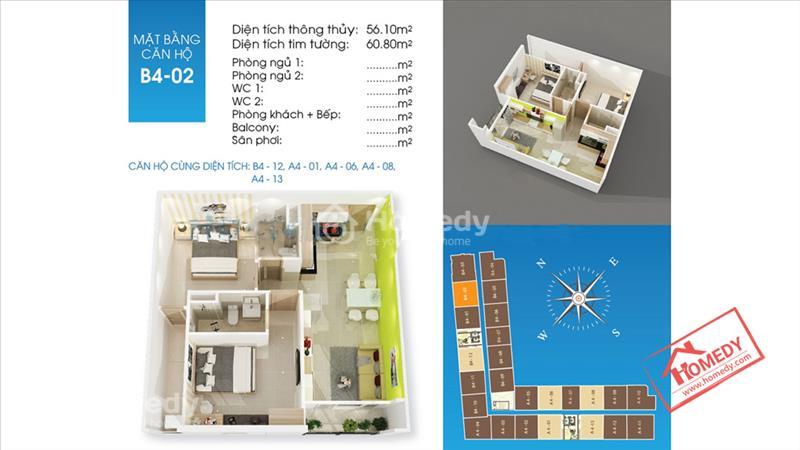 Căn hộ Tô Ký Tower MT đường Tô Ký Q12, giá 1.1 tỷ/căn hộ, dt 61m2, 2PN, 2WC - 4