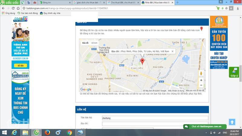 Cho thuê đất đường Phú Minh, phường Phúc Diễn, Quận Bắc Từ Liêm, Hà Nội - 1