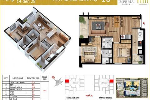 Bán chung cư Imperia Garden, 66m tầng 15 căn 16, giá rẻ 2,2 tỷ Tòa 31 tầng