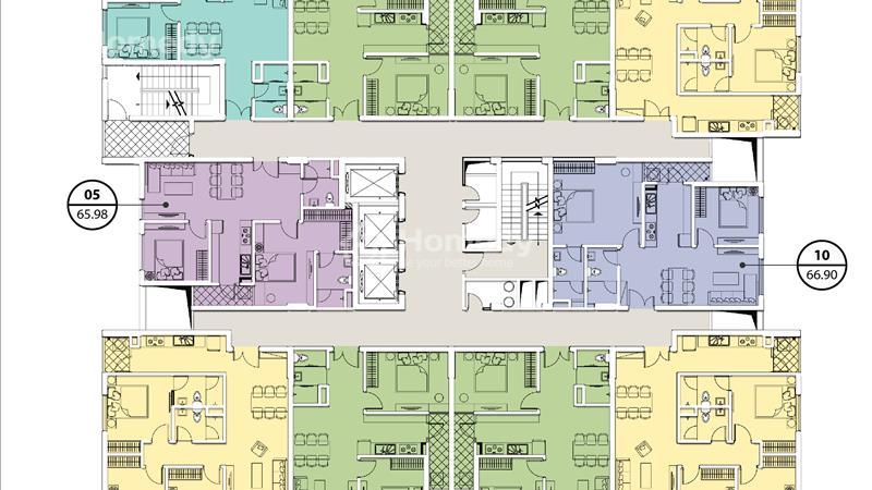 Mặt bằng tòa A tầng 4-15