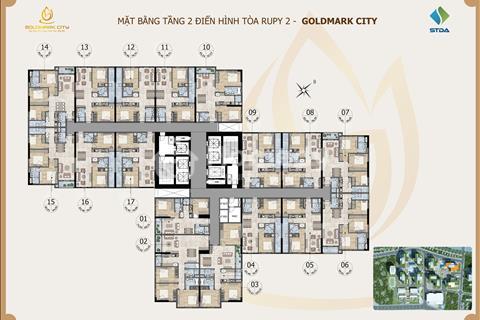 Bán chung cư Golmark City Ruby2, 83,46m2 tầng 1616 giá rẻ 25 triệu/m2, ban công đông nam