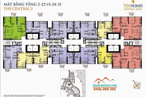 Bán gấp căn hộ C2, 2 PN; 75 m2; 3,5 tỷ chung cư Vinhomes Central Park, Bình Thạnh