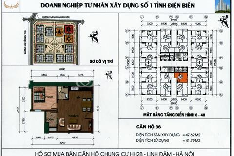 Bán căn hộ 47 m2 tòa HH2 Linh Đàm tầng 10 ở ngay