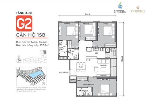 Bán căn hộ 15B tòa G2 với 4 phòng ngủ - Chung cư Vinhomes Green Bay Mễ Trì