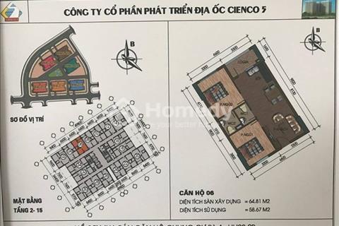 Cần tiền bán gấp căn 64 m2 tại chung cư Thanh Hà Cienco 5