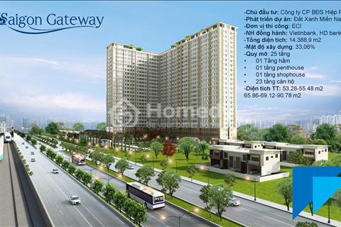 Saigon Gateway Quận 9 Thanh toán 179 triệu ký hợp đồng, vị trí vàng Ga Metro, tặng full Nội thất!!!