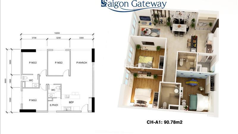 Saigon Gateway Quận 9 Thanh toán 179 triệu ký hợp đồng, vị trí vàng Ga Metro, tặng full Nội thất!!! - 9