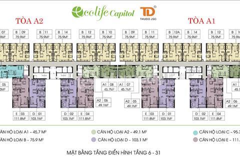 Chính chủ bán chung cư Ecolife Capitol, 45,7 m2, tầng 1608, A1, giá 1,3 tỷ