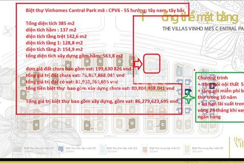 Bán biệt thự đơn lập Vinhomes Central Park diện tích sàn 563 m2