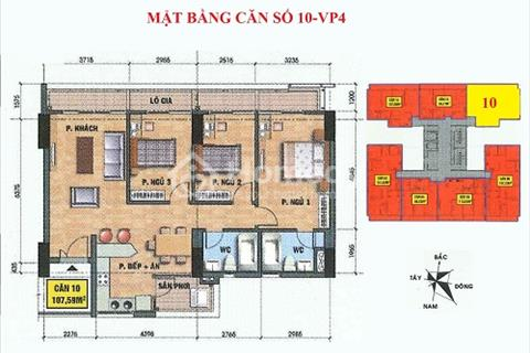 Bán căn số 10 tầng 12 chung cư VP2 Linh Đàm, 107 m2, 3 phòng ngủ đẹp, hướng Nam - Full nội thất