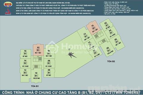 Bán gấp căn hộ 85 m2, 3 phòng ngủ, tầng 12 chung cư B1-B2 Tây Nam Linh Đàm