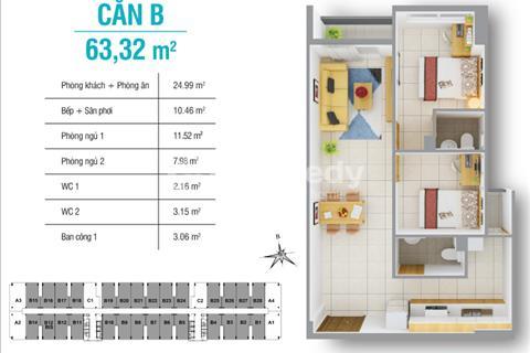Chính chủ cần bán gấp căn 2 phòng ngủ, 63 m2 giá rẻ hơn thị trường 200 triệu