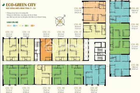 Gấp, giá cắt lỗ!! Bán gấp căn 2001-CT4 chung cư Eco Green City, diện tích 74,33 m2, giá 25 triệu/m2