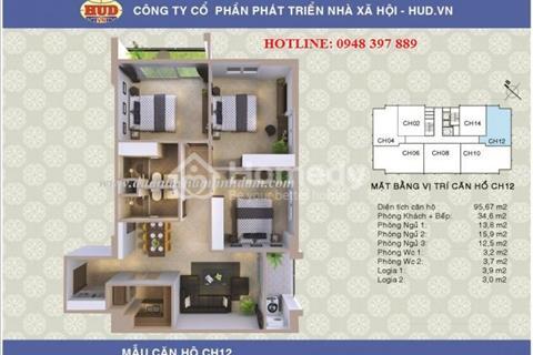 Bán căn hộ 3 phòng ngủ chung cư CT2A1 Tây Nam Linh Đàm. Diện tích 95,67 m2