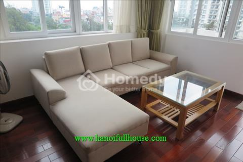 Large balcony two-bedroom serviced apartment in Tay Ho for rent