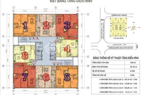 Cần bán căn góc 803 N02 - T1 Ngoại Giao Đoàn, Xuân Đỉnh, Bắc Từ Liêm, diện tích 124 m2