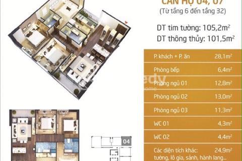 Bán căn 07 tòa Lạc Hồng I N01T5 khu Ngoại Giao Đoàn, Xuân Đỉnh, Bắc Từ Liêm. Diện tích 101,5m2