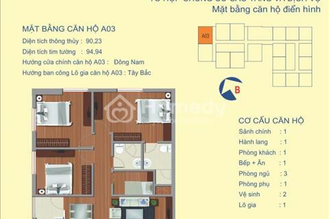 Bán rẻ căn góc A3 (90,23 m2) tầng 10 view cực đẹp, 122 Vĩnh Tuy